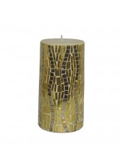 PILLAR MOSAIC DECORATIVE GOLD CANDLE