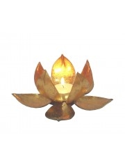 METALIC LOTUS GOLD T-LIGHT HOLDER MED