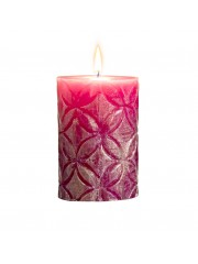 "PINK 4"" EMBOSSED PILLAR CANDLE"