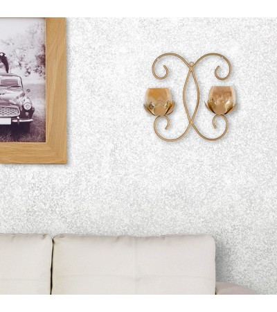 Gold Leafed Double Lotus Wall Sconce T-lite Holder
