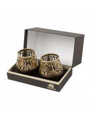 Morrocan Motif Etched Metal  T-lite Holder (SET OF 2)