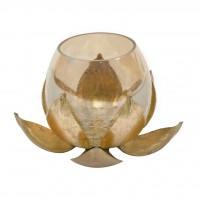 LOTUS GOLD MEDIUM T-LITE HOLDER WITH CRACKLE GLASS BY GLOBAL GLORY