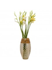 Tabor Mosaic Amber Gold Embossed Vase