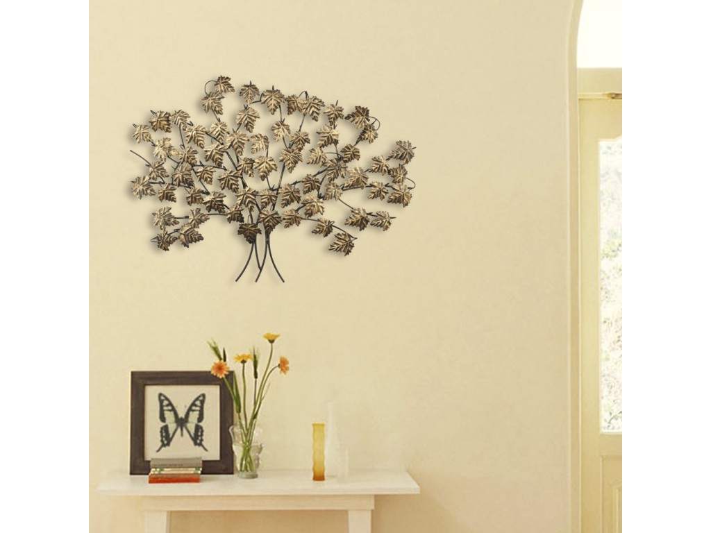 Global Glory Art Metal Leaf Tree Mosaic Brown Wall Tree