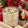 Etched Metal Cage T-lite with Gold Lustre Glass