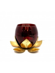 MINI METAL LOTUS W/CRACKLE RED GLASS T-LITE HOLDER