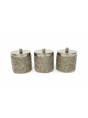BEADED GOLD CANDLE SET OF 3 CONTAINER