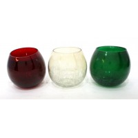 ROLLY POLLY MED SET OF 3 HALF CRACKLE T-LIGHT GLASS