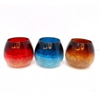 ROLLY POLLY BIG SET OF 3 HALF CRACKLE COLORED T-LIGHT HOLDER
